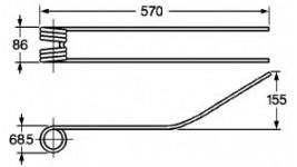 Dente per giroandanatore Claas lungo